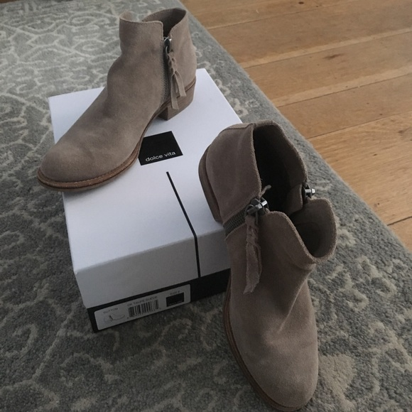 Dolce Vita Shoes - Dolce Vita Sutton Taupe Suede Zipper Booties